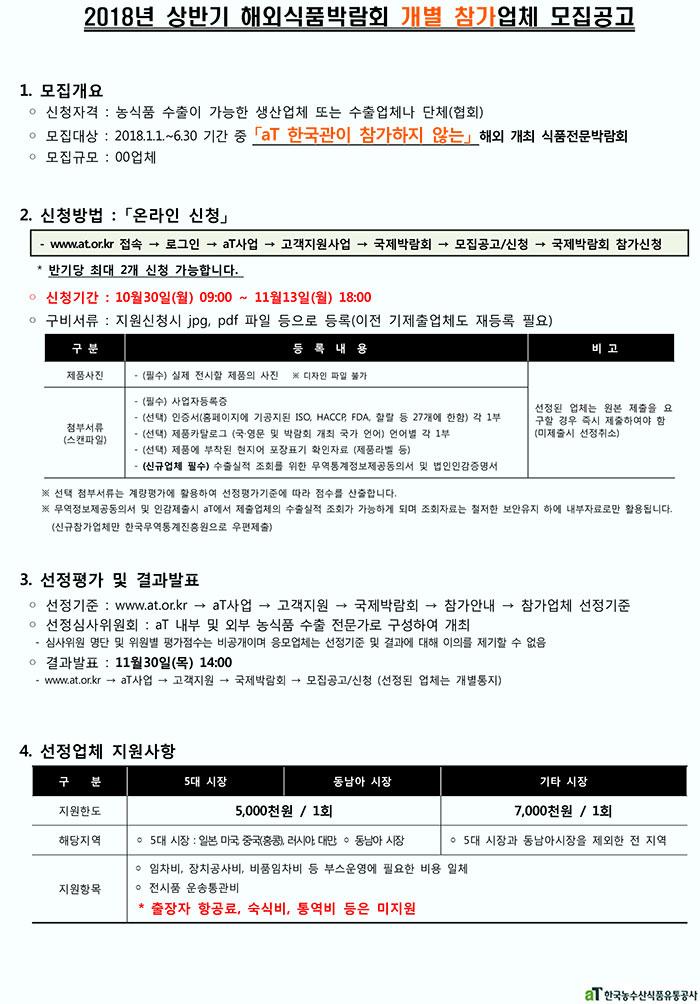2018년 상반기 개별참가박람회 참가업체 모집공고
